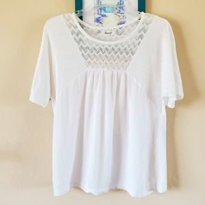 Madewell white short sleeve loose fit top